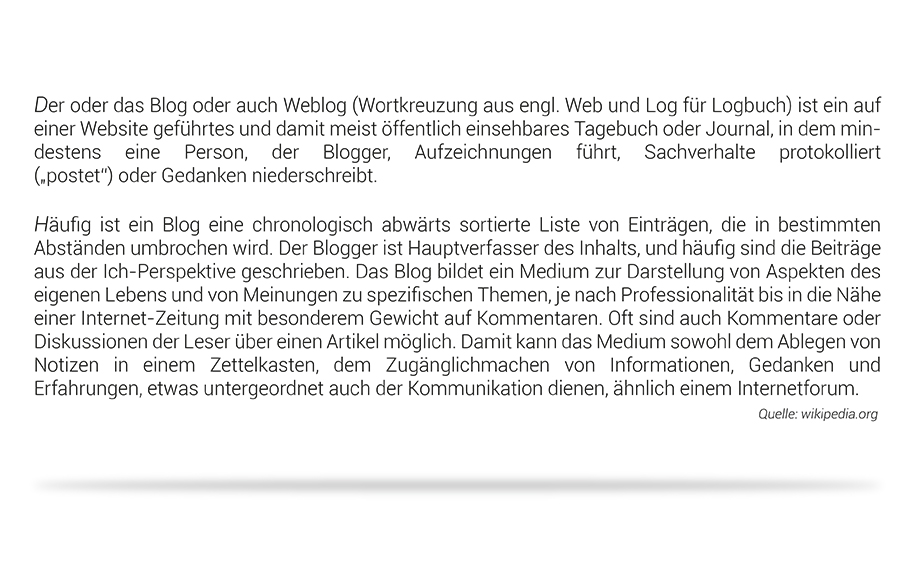 "Definition des Begriffs ""Blog"" laut Wikipedia Fotografie Jonas Hartz Gütersloh OWL Bielefeld Photography"